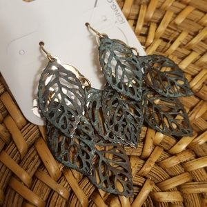 Patina and Gold Leaf Dangles